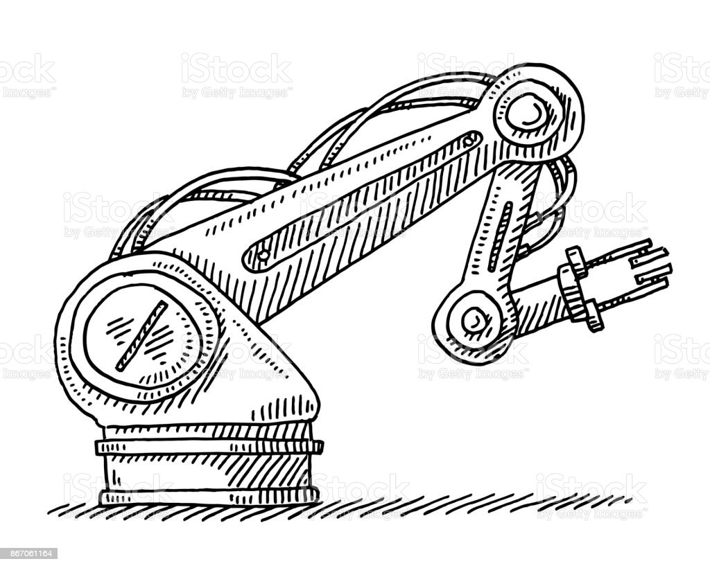 Industrial Robot Technology Drawing vector art illustration