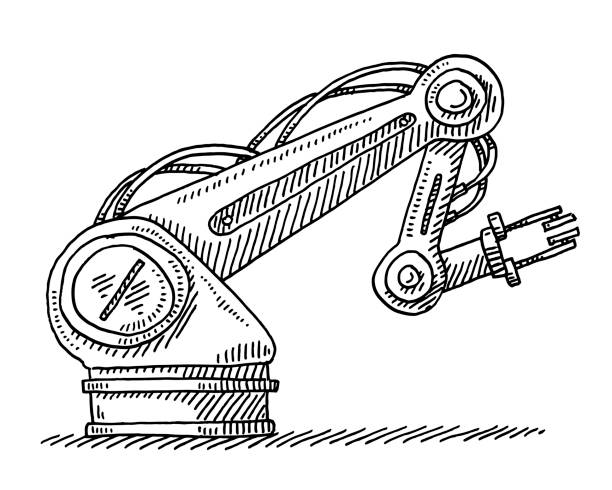 Industrial Robot Technology Drawing Hand-drawn vector drawing of an Industrial Robot, contemporary Technology. Black-and-White sketch on a transparent background (.eps-file). Included files are EPS (v10) and Hi-Res JPG. transportation stock illustrations