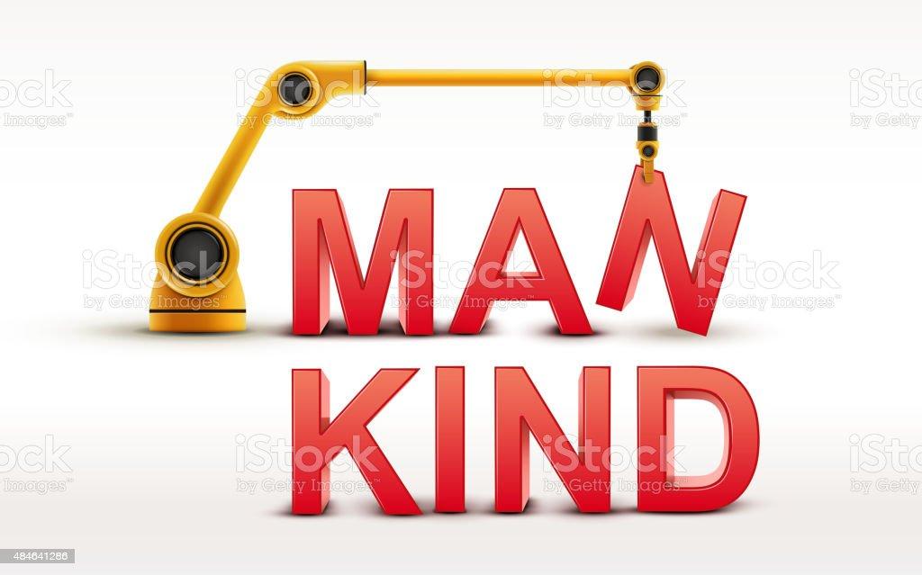 industrial robotic arm building MANKIND word vector art illustration