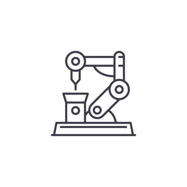 工業機器人線性圖示概念。工業機器人線向量符號, 符號, 插圖。向量藝術插圖