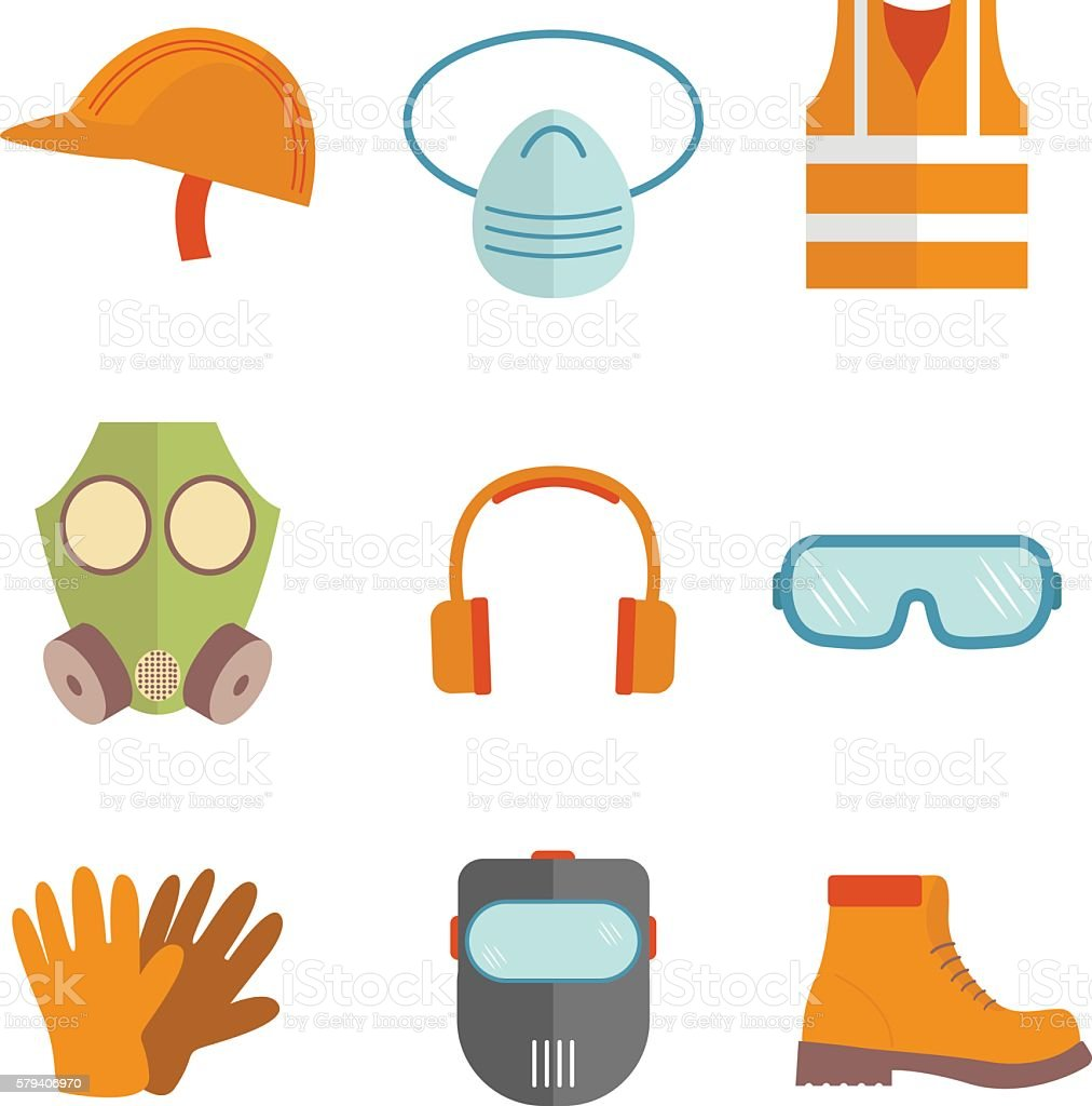 Industrial safety equipment design vector art illustration