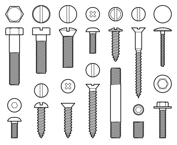산업용 볼트, 너트 스크류와 손톱 라인 벡터 아이콘 - nuts stock illustrations