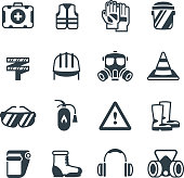 Industrial security, occupational safety work and healthcare. Protective clothing and equipmen vector icons isolated