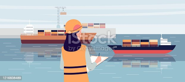 Industrial ship port worker standing on loading dock and writing in notepad - cartoon woman in safety uniform doing cargo logistics control on shore. Flat vector illustration.