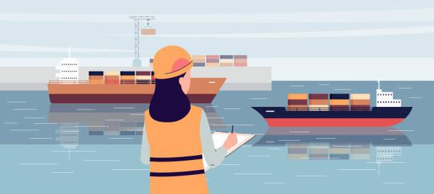 ilustrações de stock, clip art, desenhos animados e ícones de industrial ship port worker standing on loading dock and writing in notepad - porto