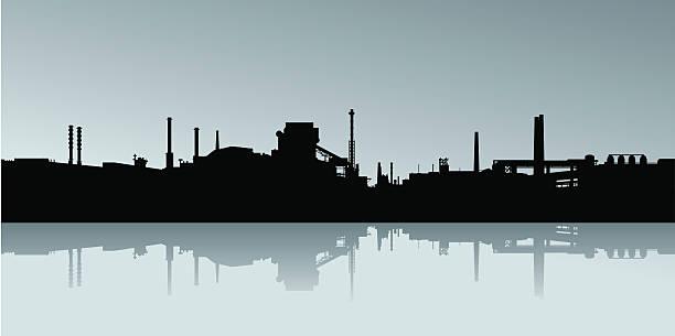industrielle skyline silhouette - metallverarbeitung stock-grafiken, -clipart, -cartoons und -symbole
