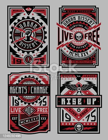 A set of industrial style poster vectors. Great for T-shirts and posters.