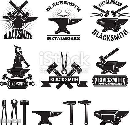 Industrial symbol set. Labels for blacksmith. Vector design template with place for your text. Blacksmith and workshop, hammer and anvil emblem illustration