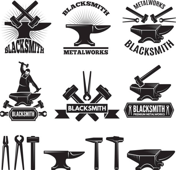 Industrial symbol set. Labels for blacksmith. Vector design template with place for your text vector art illustration