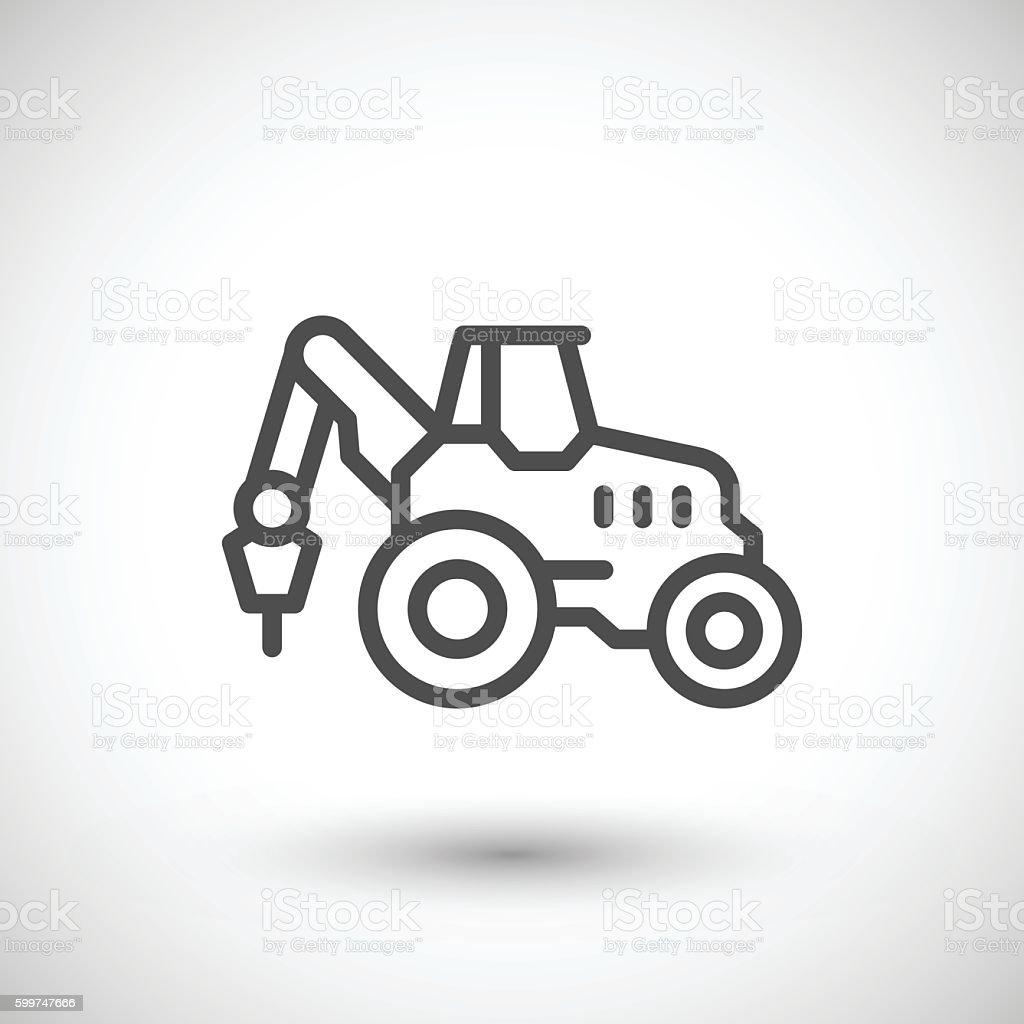 Industrial tractor line icon vector art illustration