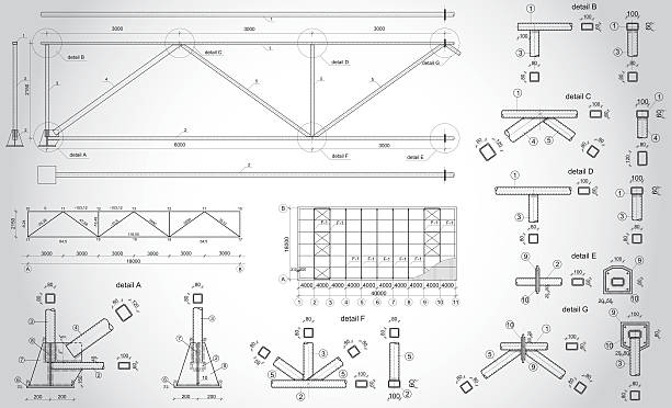 Industrial truss Highly detailed vector drawing of industrial truss architecture borders stock illustrations