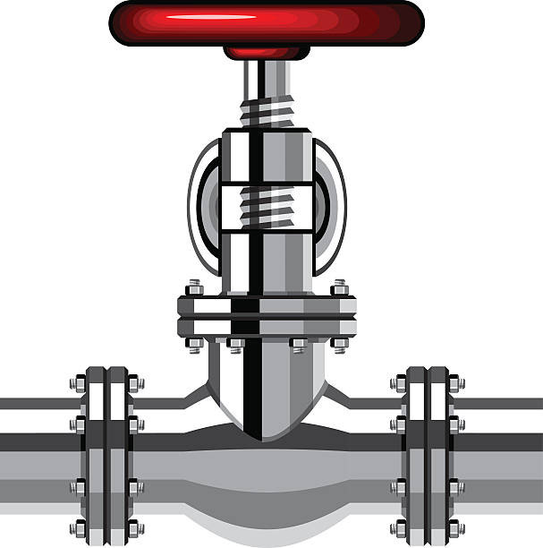 industrial valve chrome red - flange stock illustrations, clip art, cartoons, & icons