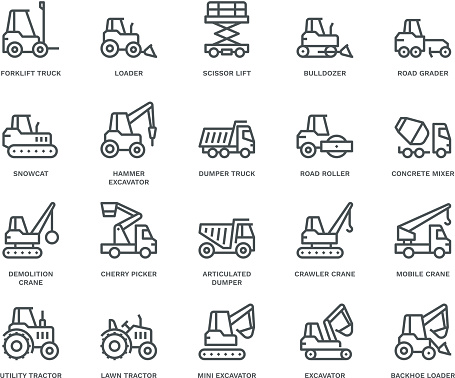 Industrial Vechicles Icons,  Monoline concept