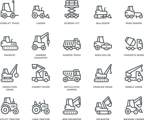 Industrial Vechicles Icons,  Monoline concept The icons were created on a 48x48 pixel aligned, perfect grid providing a clean and crisp appearance. Adjustable stroke weight. demolished stock illustrations
