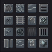 Industrial vector element set. Metal panel collection. Futuristic background elements for game concept design.