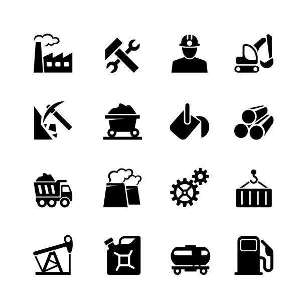 industrial web icon-set - metallverarbeitung stock-grafiken, -clipart, -cartoons und -symbole