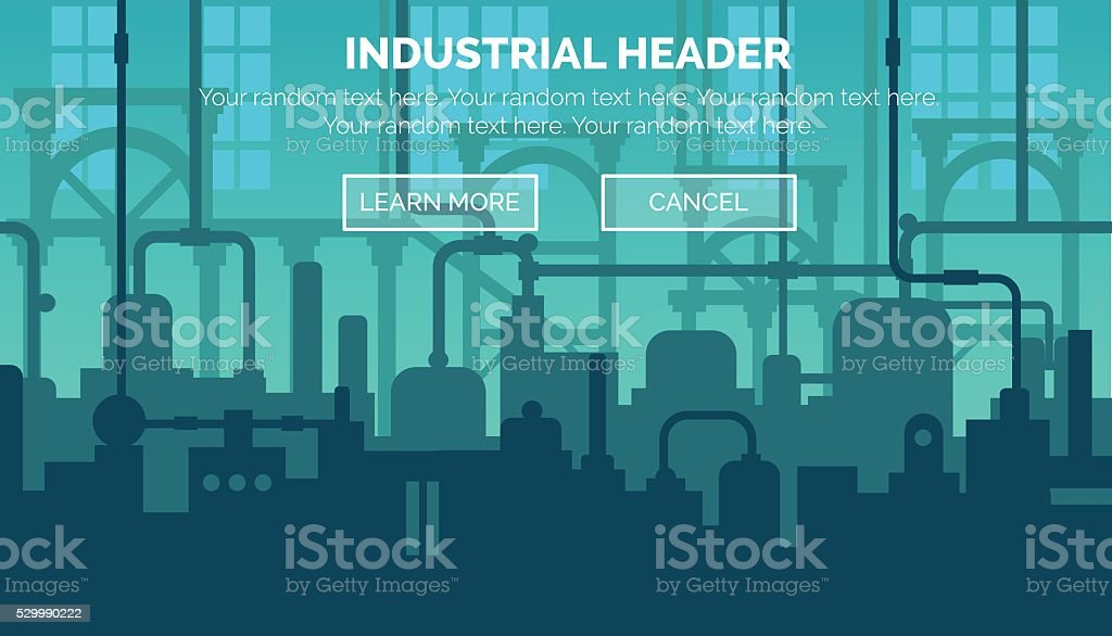 Industrial web site header template vector art illustration