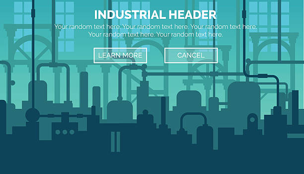 Industrial web site header template Abstract industrial manufacturing plant scene with ambient light, pipes and machinery. Web template for website header or decoration. manufacturing stock illustrations