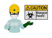 Industrial worker is presenting bio hazard sign