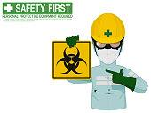 Industrial worker is presenting Biological Hazard sign