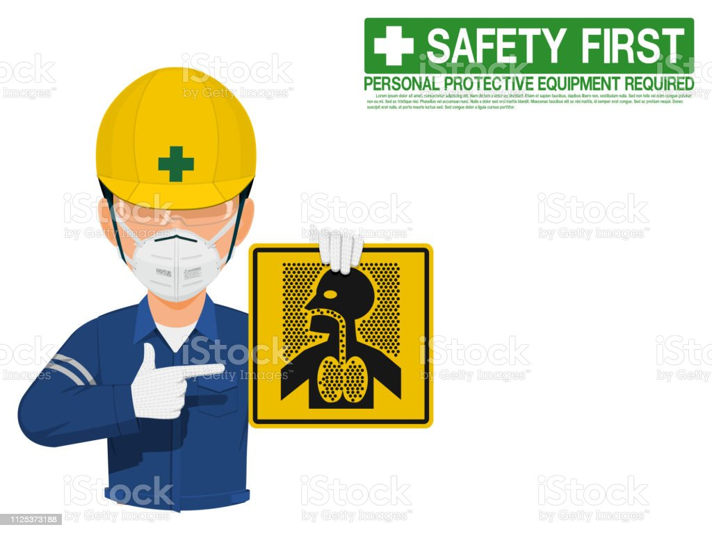 Industrial worker is presenting dust hazard sign vector art illustration