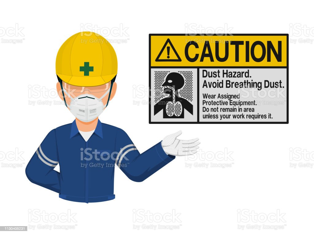 Industrial worker is presenting Dust hazard warning sign vector art illustration