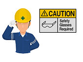 Industrial worker is presenting glasses sign