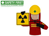 Industrial worker is presenting Radiation Hazard sign