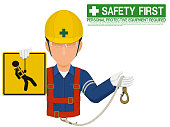 Industrial worker is presenting safety harness sign