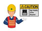 Industrial worker is presenting vest sign