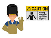 Industrial worker is presenting Welding protection warning sign