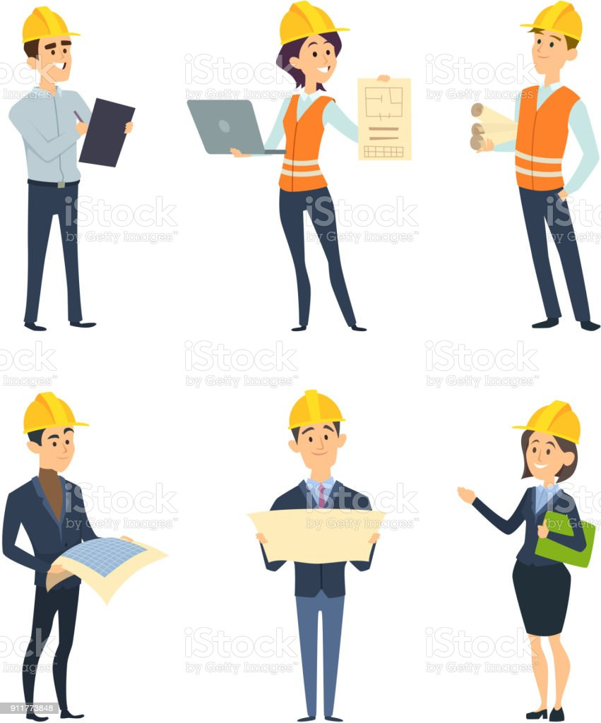 Industrial workers. Male and female architect and engineering vector art illustration