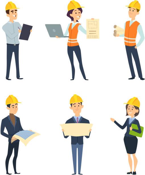 ilustraciones, imágenes clip art, dibujos animados e iconos de stock de trabajadores industriales. ingeniería y arquitecto masculino y femenino - obrero de la construcción