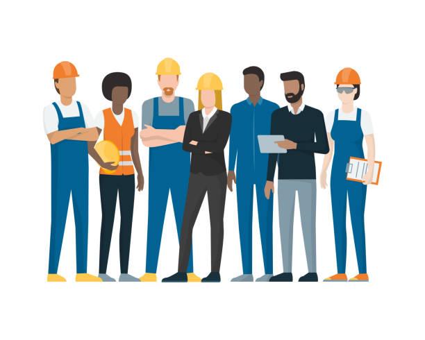 pracownicy przemysłowi - produkować stock illustrations