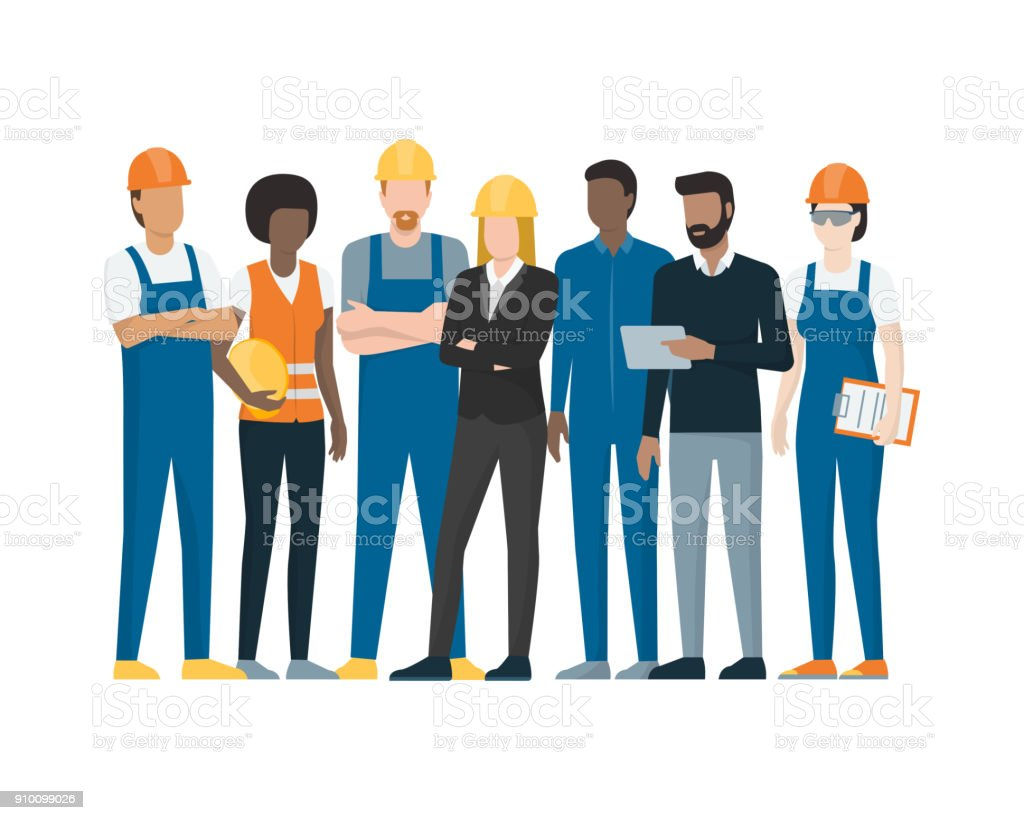 Industrial workers vector art illustration