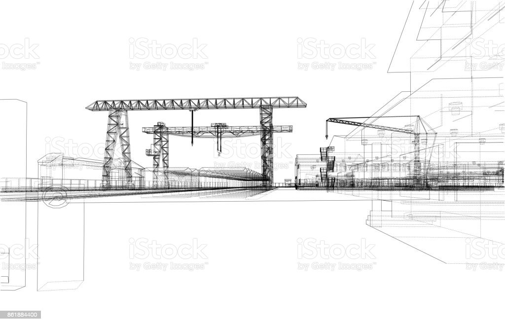 Industrial zone with buildings and cranes vector art illustration