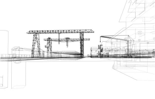 industrial zone with buildings and cranes - wire frame model stock illustrations