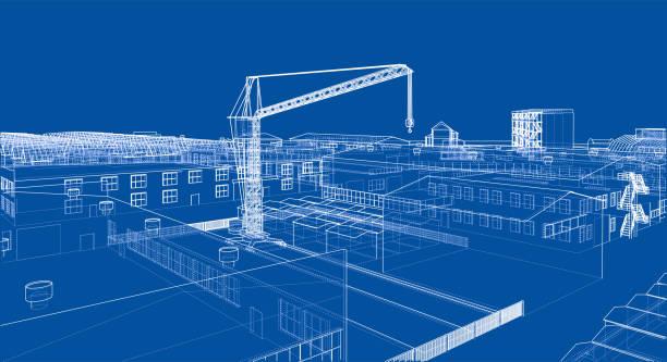 ilustrações, clipart, desenhos animados e ícones de zona industrial, com edifícios e pontes rolantes - operário de construção