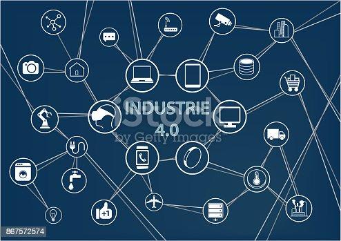 istock Industrie 4.0 Text auf blauem Hintergrund als Vektor Illustration mit Symbolen von vernetzen Objekten. 867572574