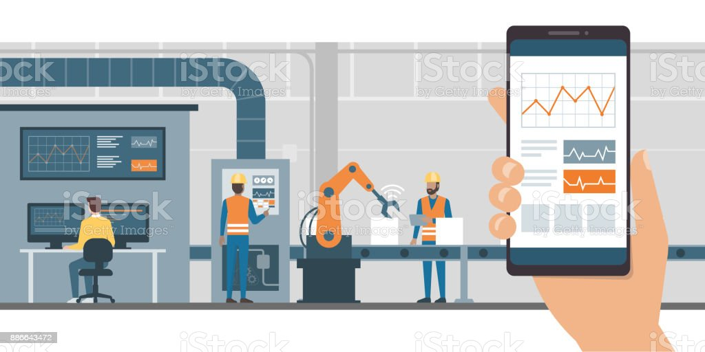 Industry 4.0 and monitoring app industry 40 and monitoring app - immagini vettoriali stock e altre immagini di affari finanza e industria royalty-free