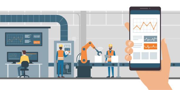 przemysł 4.0 i aplikacja do monitorowania - produkować stock illustrations