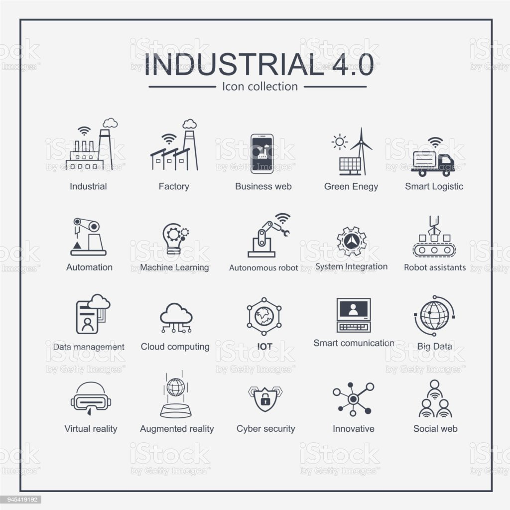 Industry 4.0 and smart productions icon set: smart industrial revolution, automation, robot assistants, cloud and innovation. - Royalty-free Automated stock vector