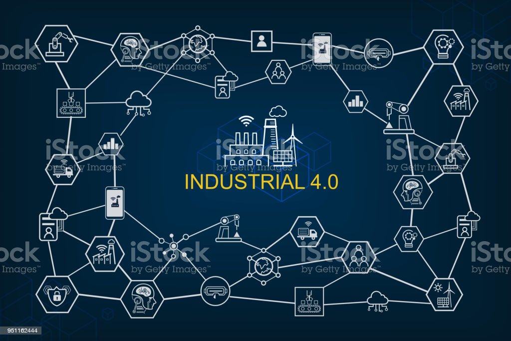 Industry 4.0 and smart productions icon set: smart industrial revolution, automation, robot assistants, cloud and innovation. - Royalty-free Augmented Reality stock vector