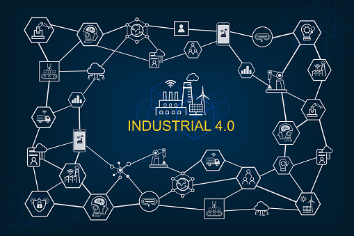 Industry 40 And Smart Productions Icon Set Smart Industrial Revolution Automation Robot Assistants Cloud And Innovation Stock Illustration - Download Image Now