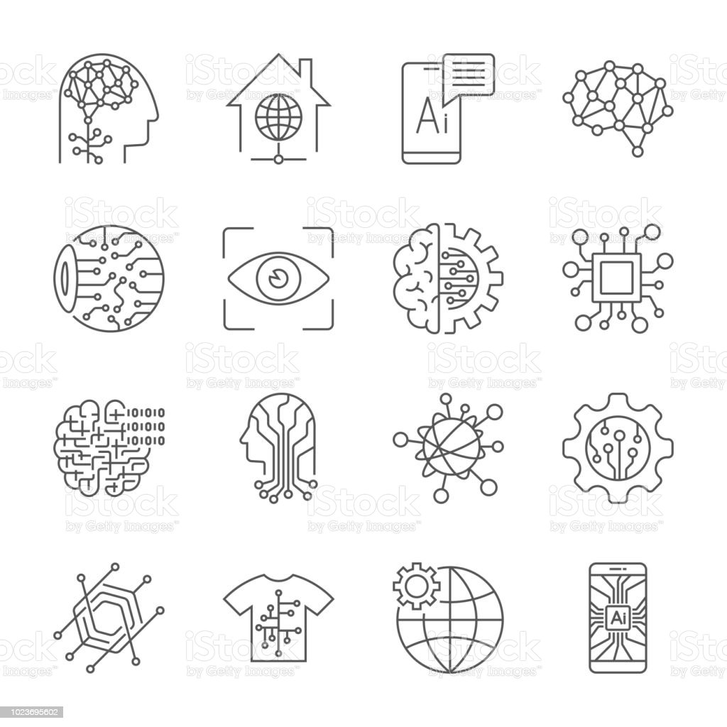 Industry 4.0, Artificial Intelligence and Internet of Things icons set. Digitalization concept enterprise IoT, smart factory, industry 4.0, AI - vector illustration vector art illustration