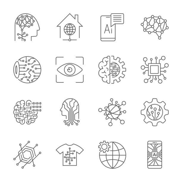 bildbanksillustrationer, clip art samt tecknat material och ikoner med industri 4.0, artificiell intelligens och internet of things ikoner anger. digitalisering koncept enterprise iot, smart factory, industri 4.0, ai - vektorillustration - brain magnifying