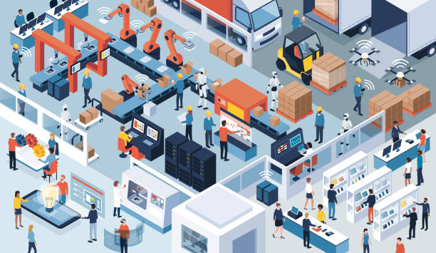 industry 4.0, automation and innovation - retail worker stock illustrations