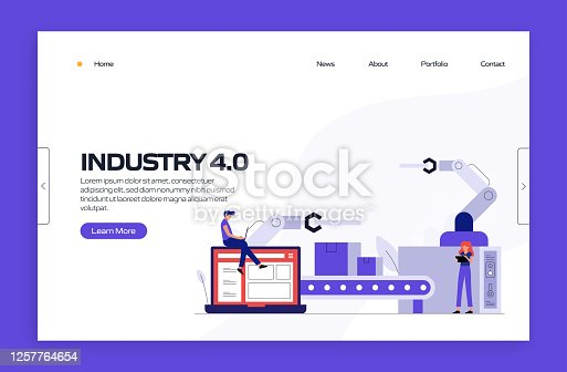 istock Industry 4.0 Concept Vector Illustration for Landing Page Template, Website Banner, Advertisement and Marketing Material, Online Advertising, Business Presentation etc. 1257764654