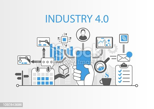 Industry 4.0 concept with hand holding modern bezel free smart phone