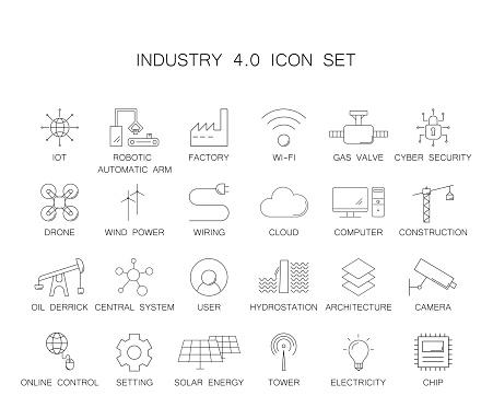 Industry 4.0 icon set. Line icon vector